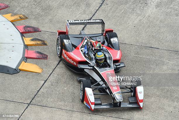 Brazilian driver Bruno Senna of the Mahindra Racing team attends a practice session of the 2015 Fia Formula E Berlin championships in Berlin on May...