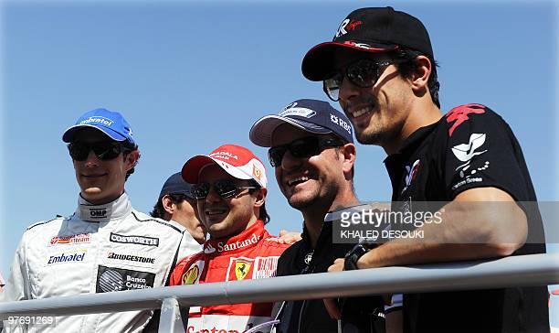 Brazilian drivers HRT F1's Brazilian driver Bruno Senna Ferrari's Brazilian driver Felipe Massa Williams' Brazilian driver Rubens Barrichello and...