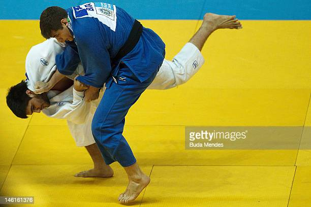 Brazilian Eduardo Silva in action against Argentinean Hector Campos during their fight at semifinal 90 Kg Male category as part of the Grand Slam of...