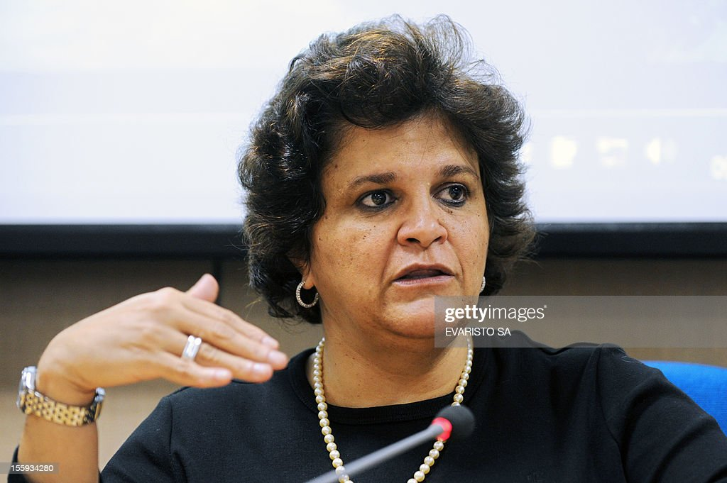 Brazilian Environment Minister Izabela Teixeira speaks during a news conference in Brasilia, on November 9, 2012, to announce the acquisition of USD 15 million in high-resolution satellite images to help in the enrollment of more than five million rural properties. AFP PHOTO / Evaristo SA
