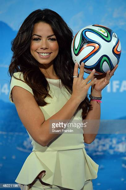 ARD brazilian expert and television presenter Fernanda Brandao is pictured during the ARD/ZDF FIFA World Cup 2014 team presentation event on April 3...