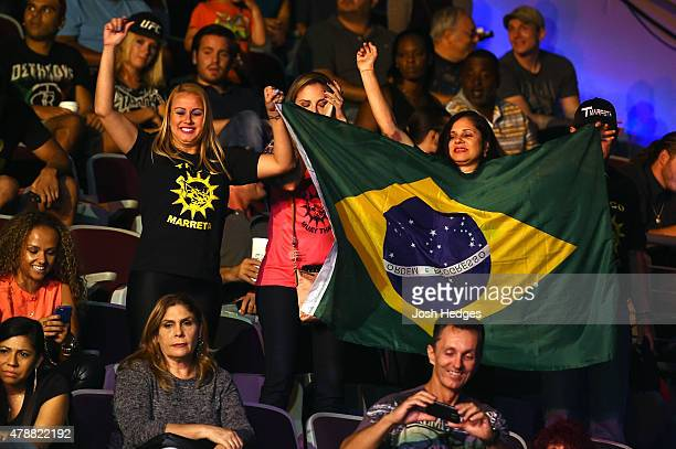 Brazilian fans attend the UFC Fight Night event at the Hard Rock Live on June 27 2015 in Hollywood Florida