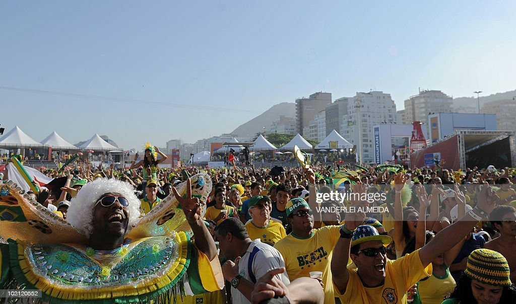 Brazilian fans celebrate after Brazil won the FIFA World Cup South Africa 2010 football match against North Korea, in Copacabana beach, in Rio de Janeiro, Brazil on June 15, 2010.