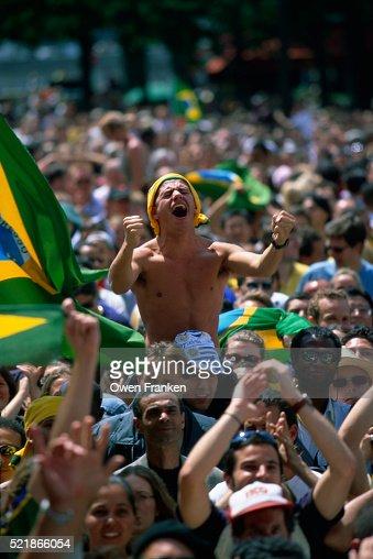 Brazilian Fans Celebrate Goal During World Cup Finals