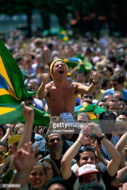 Brazilian Fans Celebrate Goal During World Cup Finals