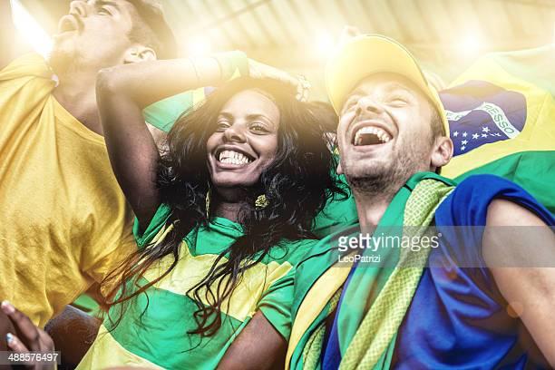 Brasilianischen fans bei einem Fußballspiel