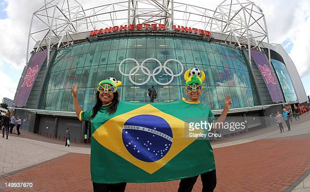 Brazilian fans enjoy the atmosphere prior to the Men's Football Semi Final match between Korea and Brazil on Day 11 of the London 2012 Olympic Games...