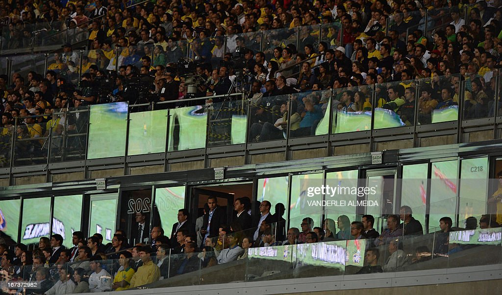 Brazilian fans look at the friendly football match against of Chile at the Mineirao stadium, in Belo Horizonte, Minas Gerais, Brazil, on April 24, 2013.
