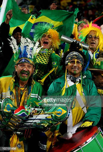 Brazilian fans show their support during the 2010 FIFA World Cup South Africa Group G match between Brazil and North Korea at Ellis Park Stadium on...