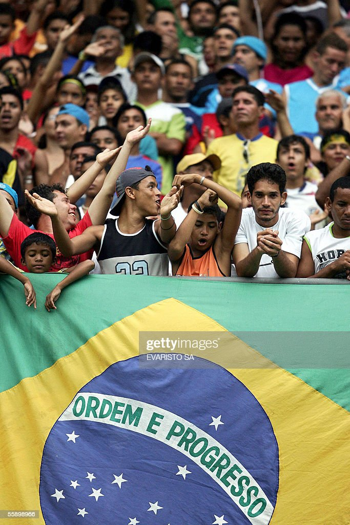 Brazilian fans support their national team 11 October 2005 during training session at Mangueirao stadium in Belem northern Brazil Brazil faces...