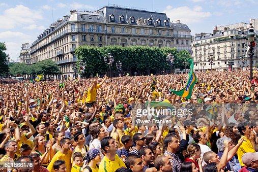Brazilian Fans Watching the World Cup