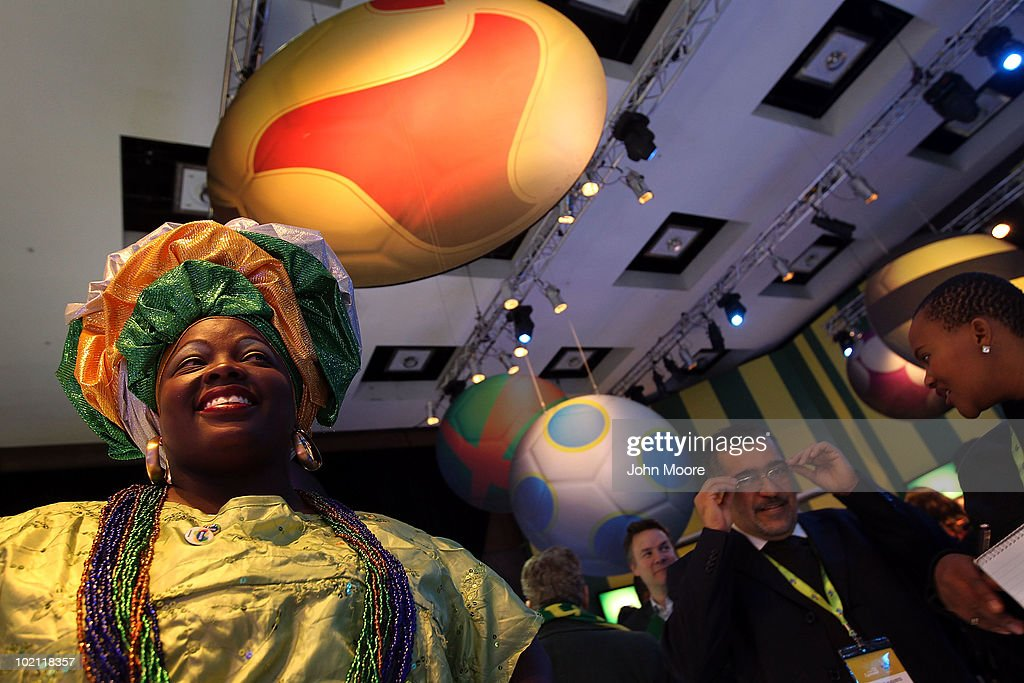 Brazilian folk dancer Lucicleide Nanscimento from Santiago, Bahia greets visitors at the opening of the Brazil Sensational expo on June 15, 2010 in Sandton, South Africa. The Brazilian Tourism Board opened the exhibit at the Sandton Convention Center, showing off Brazilian culture, art and World Cup soccer history. Brazil is to host the 2014 FIFA World Cup.