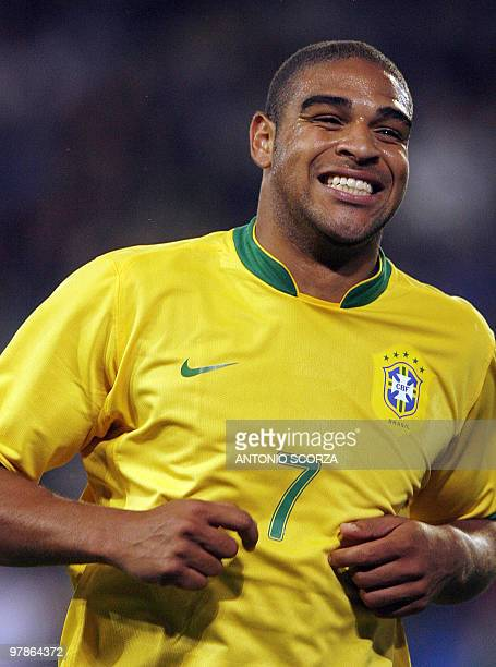 Brazilian footbaler Adriano smiles as celebrates a goal against the FC Lucern Selection during a friendly match at St Jakob stadium in Basel 30 May...