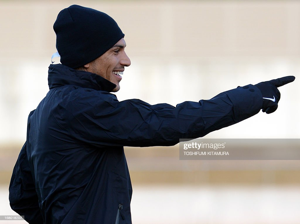 Brazilian football club team Corinthians forward Paolo Guerrero gestures during their training session for the 2012 Club World Cup in Japan tournament at Kariya, Aichi prefecture on December 9, 2012. Corinthians will play in the semi-final match on December 12 at Toyota stadium.