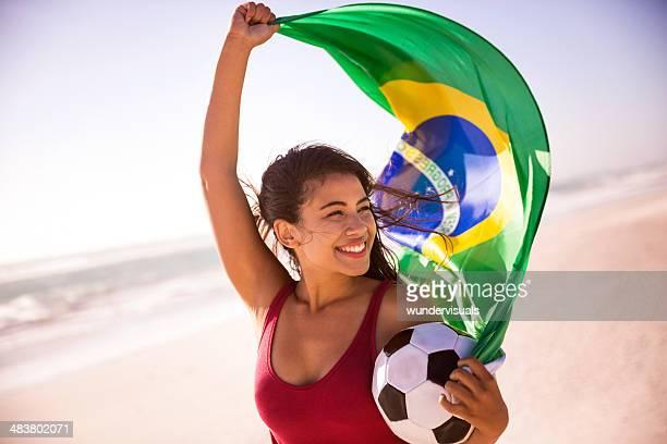 ブラジルサッカーファンの国旗