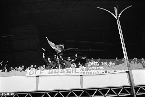 Brazilian football fans supporting their national team as Brazil play Bulgaria at Goodison Park during the group stages of the 1966 World Cup in...