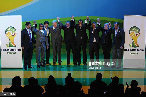 Brazilian Football Federation president Ricardo Terra Teixeira Brazilian President Luiz Inacio Lula da Silva and FIFA President Joseph Sepp Blatter...