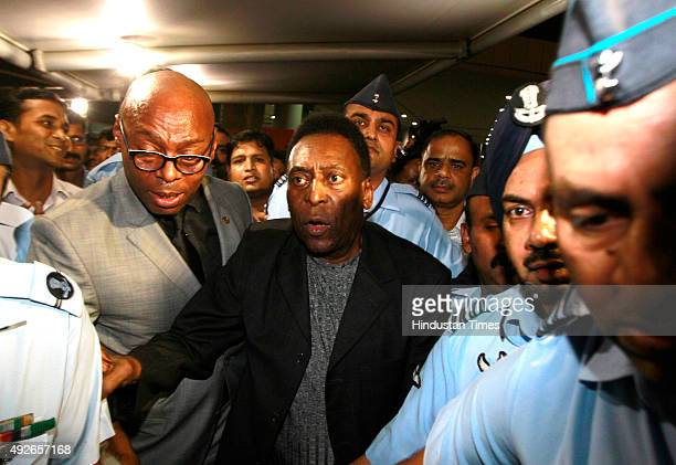 Brazilian football legend Pele arrives at T3 IGI Airport on October 14 2015 in New Delhi India Pele who turns 75 on October 23 is here on a twoday...