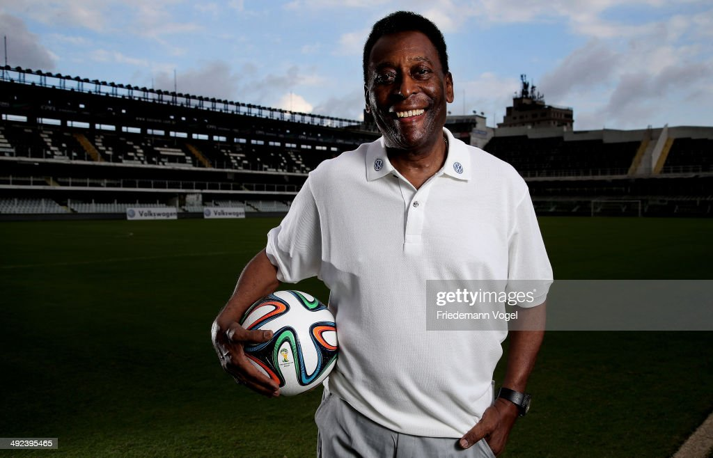 Brazilian football legend Pele poses in during a visit at stadium Vila Belmiro on May 17, 2014 in Santos, Brazil.