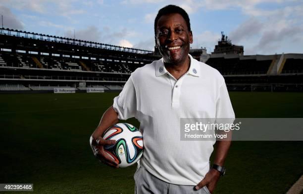 Brazilian football legend Pele poses in during a visit at stadium Vila Belmiro on May 17 2014 in Santos Brazil