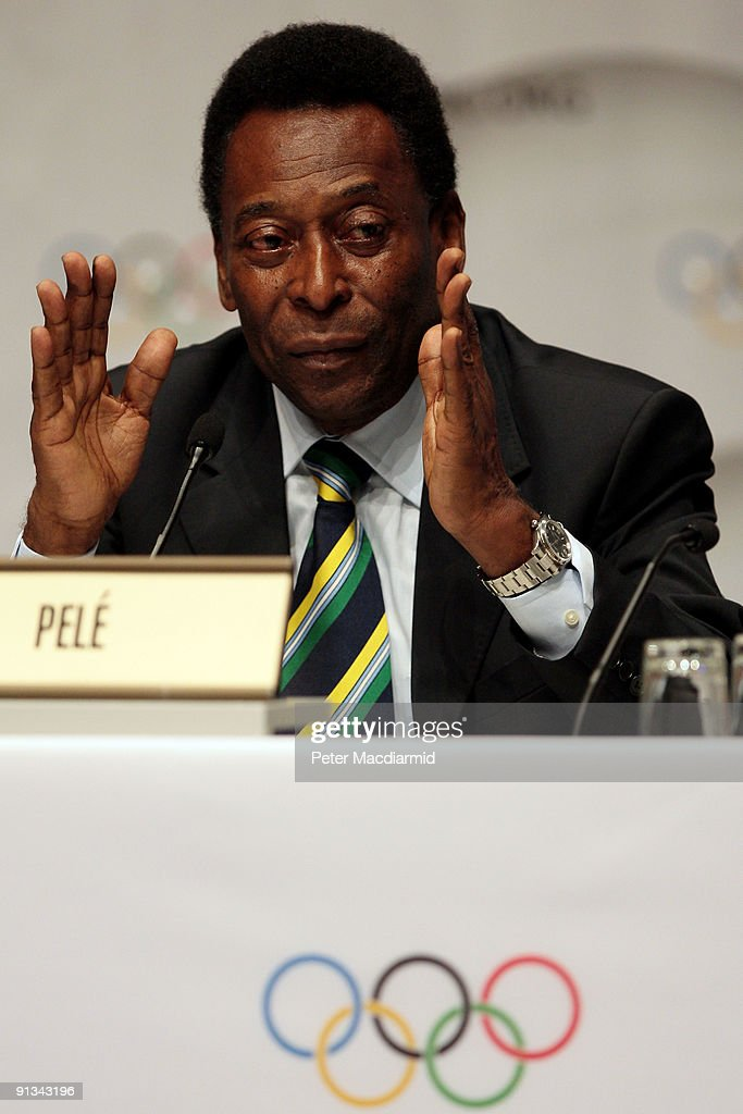 Brazilian football legend Pele speaks during a press conference after the Rio 2016 presentation on October 2, 2009 at the Bella Centre in Copenhagen, Denmark. The 121st session of the International Olympic Committee (IOC) will vote on October 2 on whether Chicago, Tokyo, Rio de Janeiro or Madrid will host the 2016 Olympic Games.