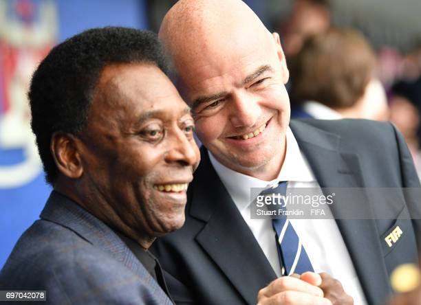 Brazilian football legend Pele talks with FIFA president Gianni Infantino prior to the FIFA Confederations Cup Group A match between Russia and New...
