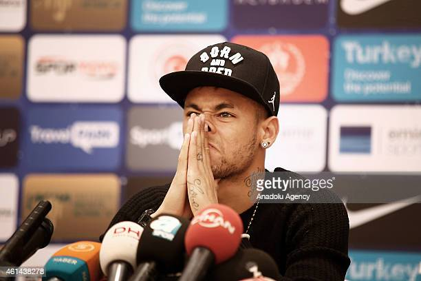 Brazilian football player Neymar da Silva Santos Junior attends a press conference at the ShangriLa Bosphorus Hotel in Istanbul Turkey on January 12...