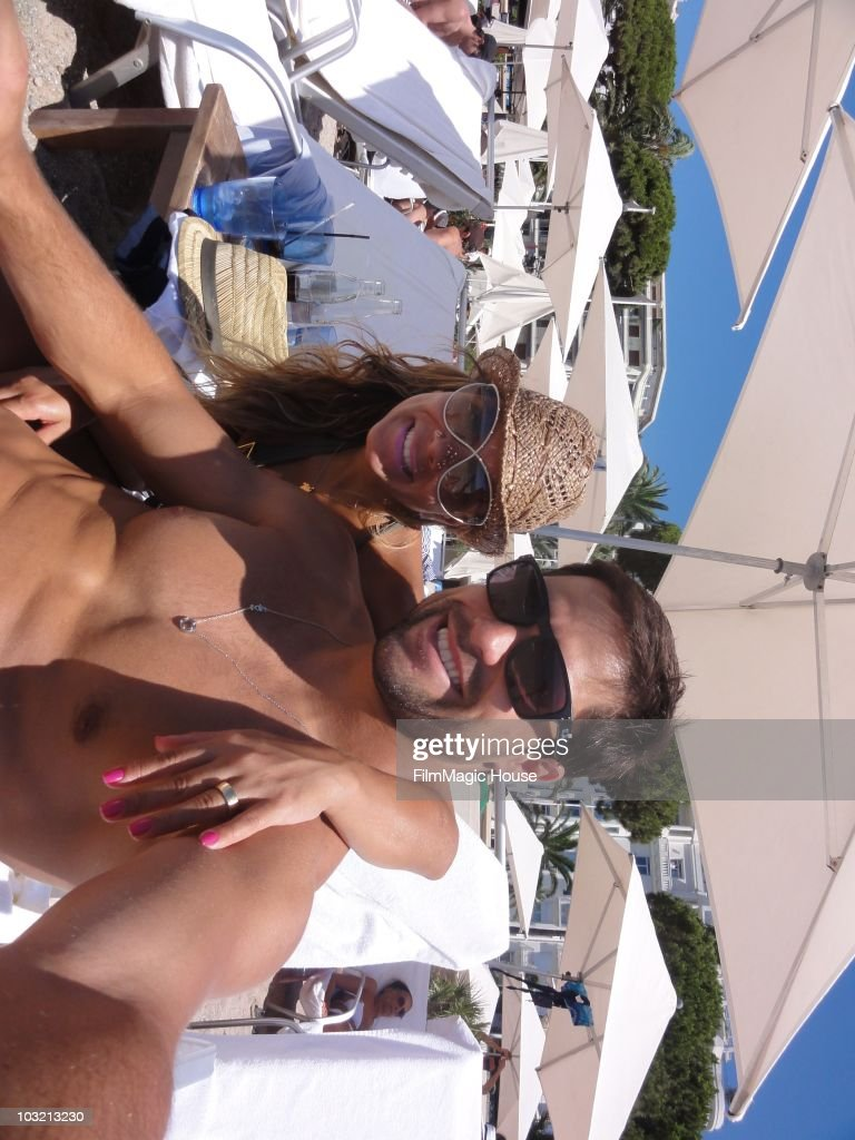 Brazilian football star Diego of Juventus Turin and his wife Bruna Leticia Araujo during a holiday on July 31, 2010 in Cannes, France.