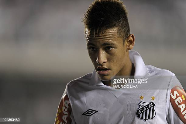 Brazilian football star Neymar of Santos FC is seen during their Brazilian Championship football match against Corinthians held at Vila Belmiro...