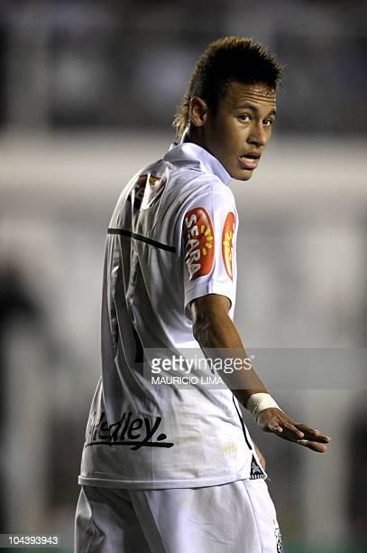Brazilian football star Neymar of Santos FC is seen during their Brazilian Championship football match against Corinthians held at Vila Belmiro...