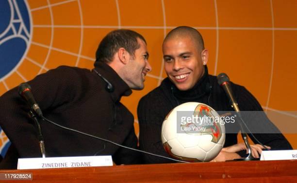 Brazilian Football Star Ronaldo French Player Zinedine Zidane Attend a Press Conference Before the FIFA World Player Gala 2002 at the Palacio de...