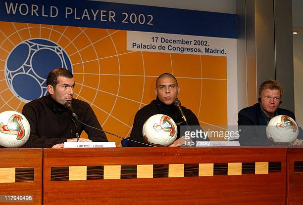 Brazilian Football Star Ronaldo French Player Zinedine Zidane German Goalkeeper Oliver Kahn Attend a Press Conference Before the FIFA World Player...