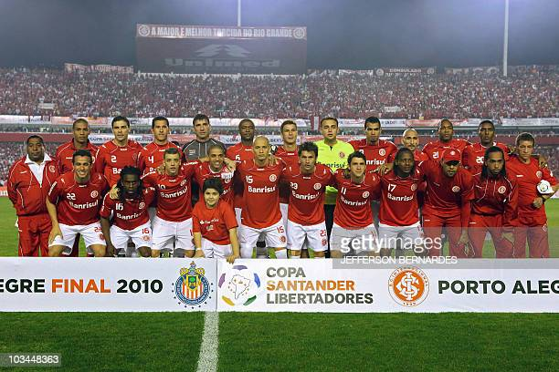 Brazilian football team players of Internacional pose before the Libertadores Cup final match against Mexican Chivas at Beira Rio stadium in Porto...