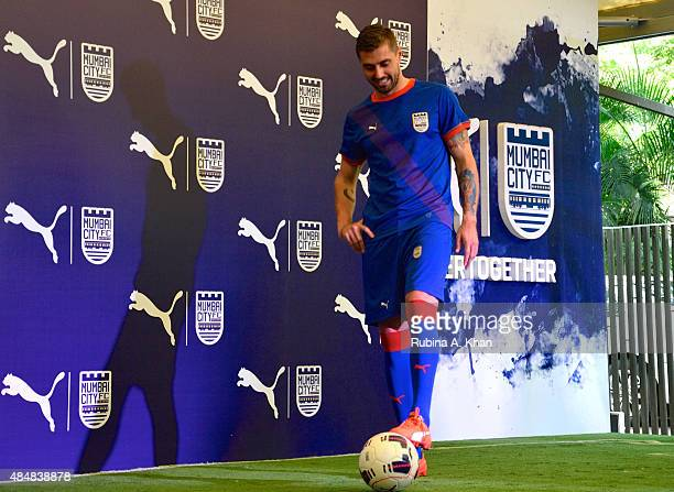 Brazilian footballer Andre Moritz at the unveiling of the new Puma Mumbai City FC jersey and kit by Bollywood star Ranbir Kapoor and coowner of the...