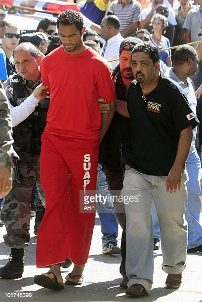 Brazilian footballer Bruno Fernandes de Souza is taken under custody to the presidium of Belo Horizonte Brazil on July 9 2010 De Sousa a star...