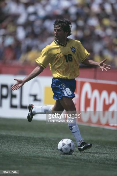 Brazilian footballer Leonardo Araujo pictured making a run with the ball as he appeals for support during play for Brazil in a 1994 FIFA World Cup...