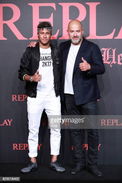 Brazilian footballer Neymar attends Replay fashion show on July 31 2017 in Shanghai China