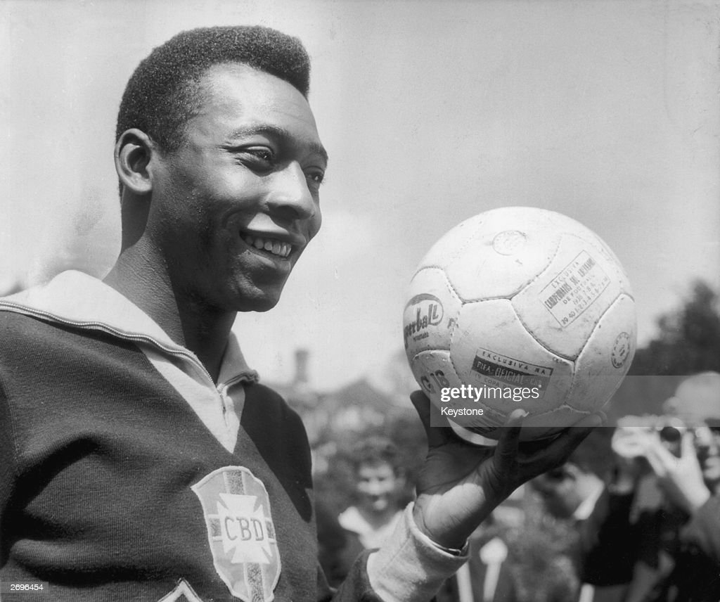Brazilian footballer Pele in training for Brazil's match against England.