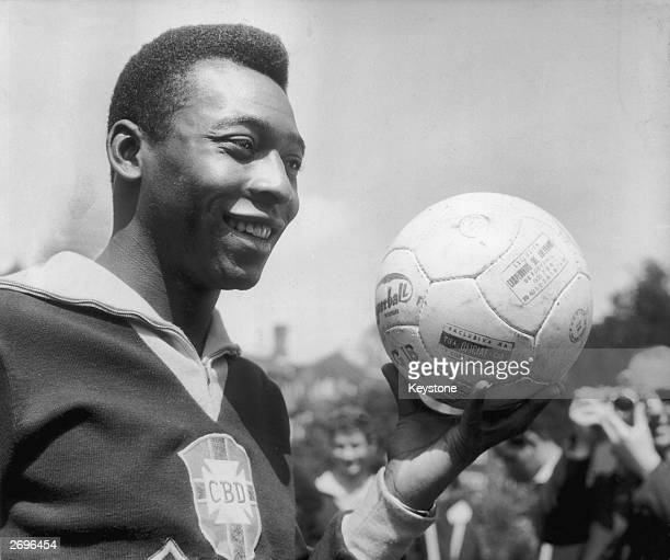 Brazilian footballer Pele in training for Brazil's match against England