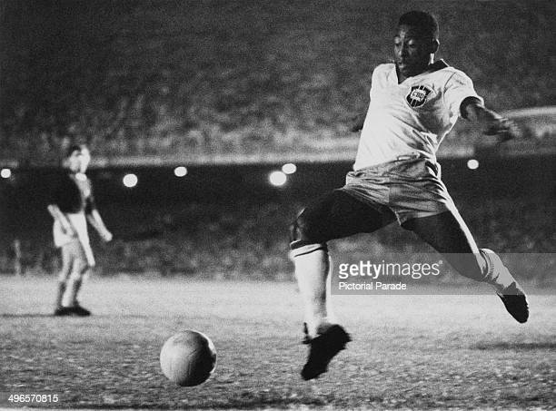 Brazilian footballer Pele playing for Brazil circa 1958