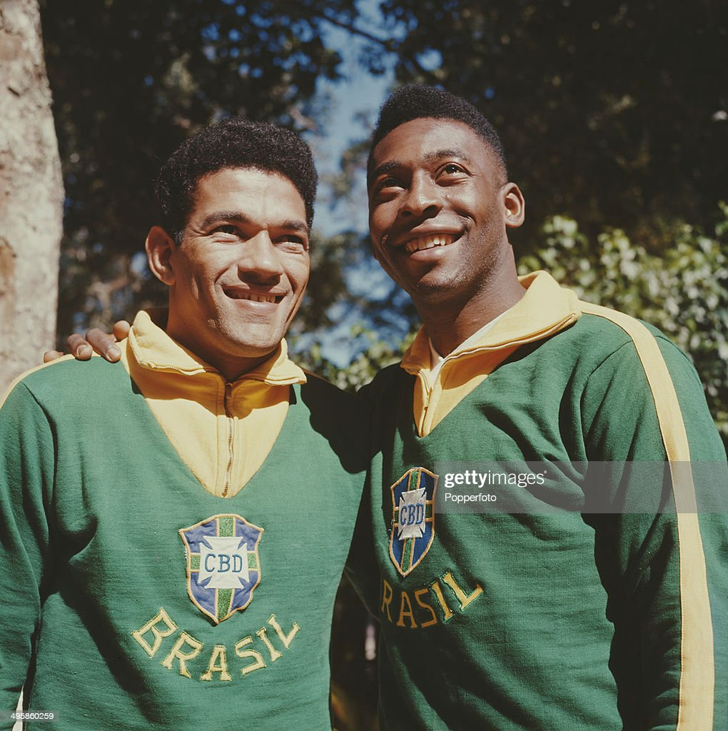Brazilian footballer Pele (Edson Arantes do Nascimento) posed on right with <a gi-track='captionPersonalityLinkClicked' href=/galleries/search?phrase=Garrincha&family=editorial&specificpeople=939039 ng-click='$event.stopPropagation()'>Garrincha</a> (Manuel Francisco dos Santos) both wearing Brazil national team uniform in 1962.