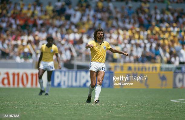 Brazilian footballer Socrates during a World Cup group stage match against Spain at Estadio Jalisco Guadalajara Mexico 1st June 1986 Brazil Won 10