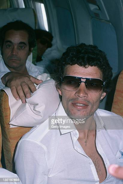 Brazilian footballer Socrates on board an airliner January 1981
