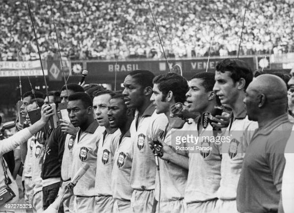 Brazilian footballers lining up before their World Cup qualifying match against Venezuela at the Maracana Stadium Rio de Janeiro Brazil 24th August...
