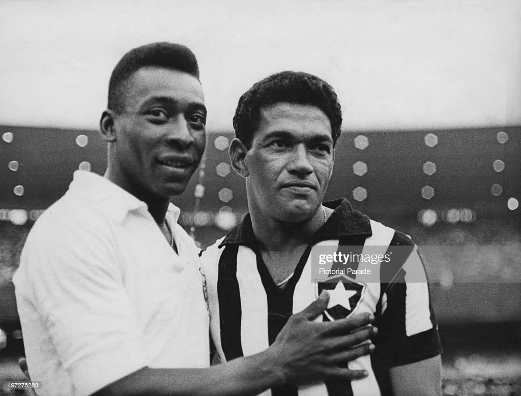 Brazilian footballers Pele and <a gi-track='captionPersonalityLinkClicked' href=/galleries/search?phrase=Garrincha&family=editorial&specificpeople=939039 ng-click='$event.stopPropagation()'>Garrincha</a>, 2nd February 1968.