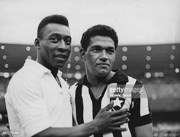 Brazilian footballers Pele and Garrincha 2nd February 1968