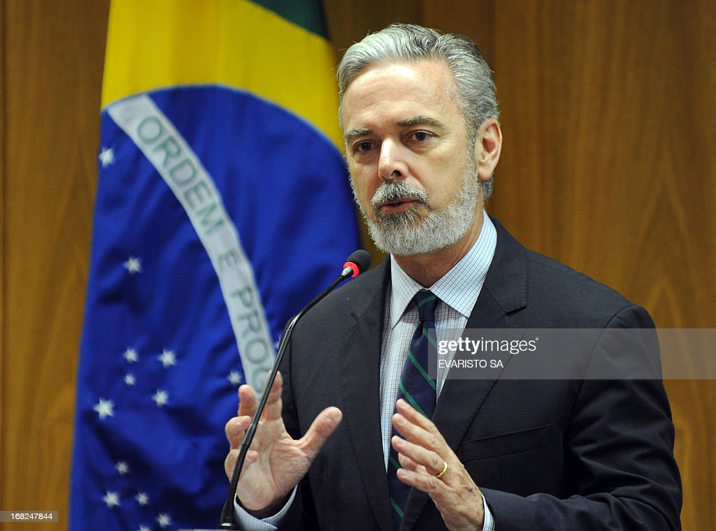 Brazilian Foreign Minister Antonio Patriota gestures during a press conference at Itamaraty Palace, in Brasilia, following the announcement of the new head of the World Tarde Organization (WTO), Brazilian ambassador Roberto Azevedo, on May 07, 2013. Azevedo has beaten Mexican veteran Herminio Blanco in the race to become the new leader of the WTO. The election of Brazilian candidate Roberto Azevedo as the new head of the World Trade Organization reflects a changing world order and is a victory for Brazil, Foreign Minister Antonio Patriota said. AFP PHOTO / Evaristo SA