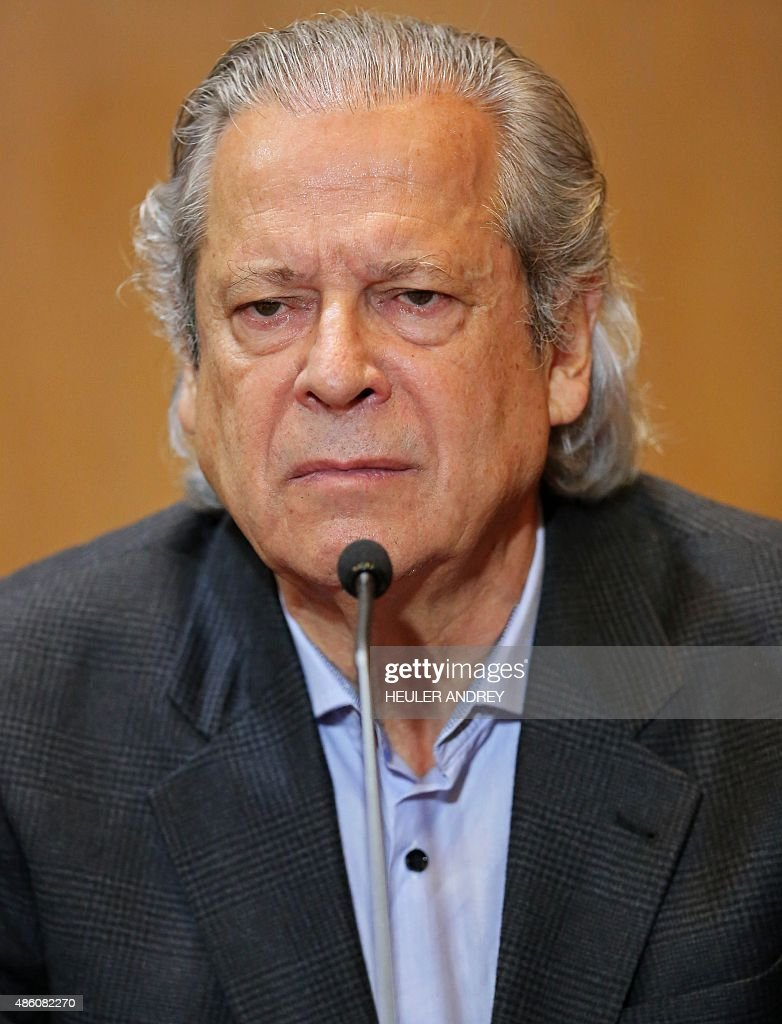 Brazilian former chiefofstaff Jose Dirceu gestures during a hearing of the parliamentary committee of the Petrobras investigation in the Federal...