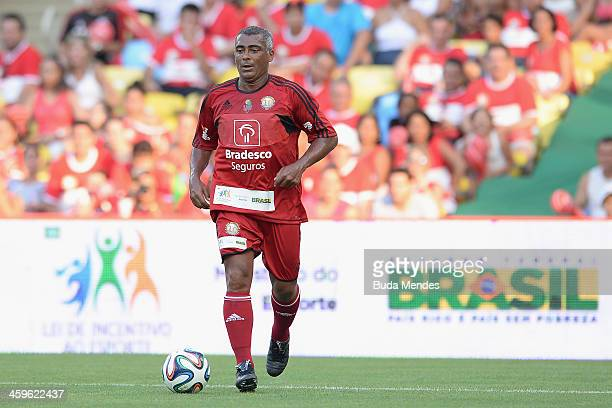 Brazilian former football star Romario in action during a charity football match organized by former Brazilian national team player Zico at Maracana...