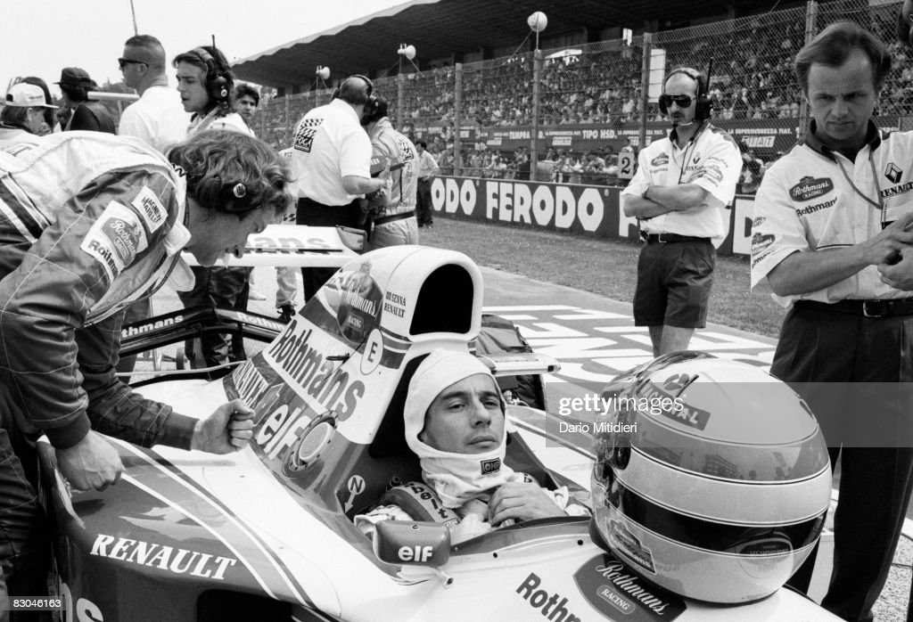 Brazilian Formula 1 race car driver Ayrton Senna (1960 - 1994) in his car at the starting line before the San Marino F1 Grand Prix on the Imola Circuit, Imola, Italy, May 1, 1994. Senna died a few hours later after an accident during the race.